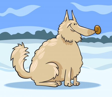 shaggy: Cartoon Illustration of Shaggy Purebred Eskimo Dog or Spitz or Sheepdog against Winter Rural Scene with Snow