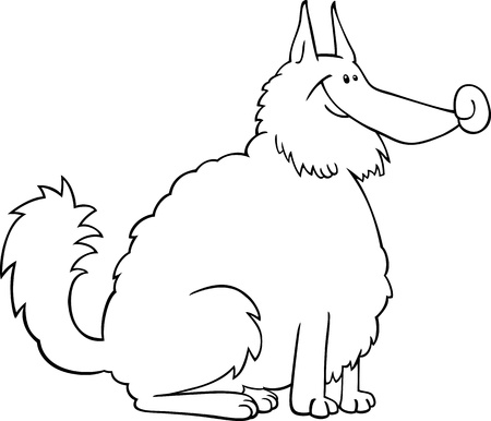 eskimo dog: Black and White Cartoon Illustration of Shaggy Purebred Eskimo Dog or Spitz or Sheepdog for Coloring Book or Coloring Page
