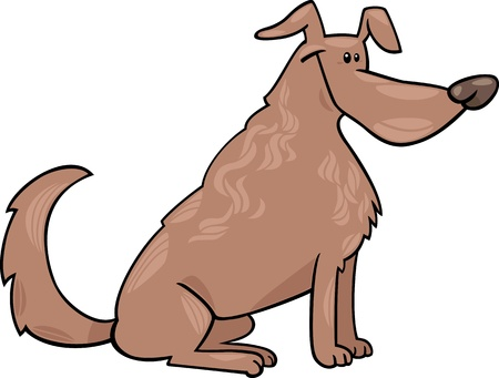sit stay: Cartoon Illustration of Funny Sitting Brown Dog Illustration