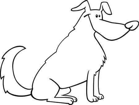 sit stay: Black and White Cartoon Illustration of Funny Sitting Dog for Coloring Book