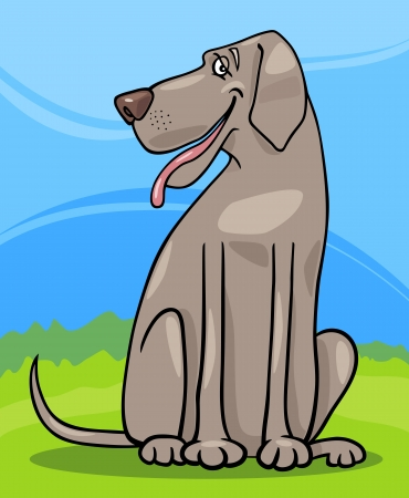 dog park: Cartoon Illustration of Funny Gray Great Dane Dog against Rural Scene with Blue Sky and Green Grass Illustration