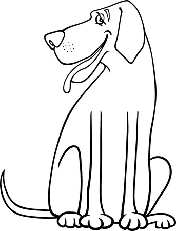 sit stay: Black and White Cartoon Illustration of Funny Great Dane Dog for Coloring Book or Coloring Page