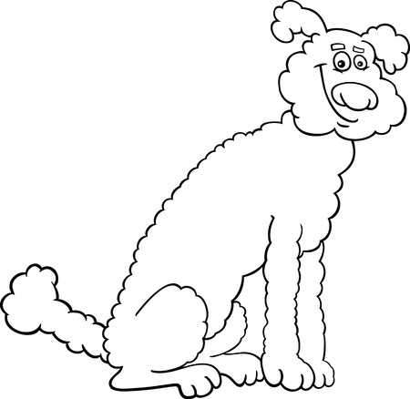 sit stay: Black and White Cartoon Illustration of Cute Poodle Dog for Coloring Book or Coloring Page Illustration