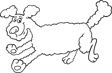 Black and White Cartoon Illustration of Cute Running Poodle Dog for Coloring Book or Coloring Page Stock Vector - 17087961