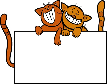 animal frame: Cartoon Illustration of Two Funny Cats with Blank Card or Board Greeting or Business Card Design Isolated