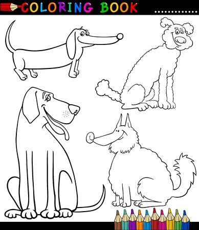 eskimo dog: Coloring Book or Coloring Page Black and White Cartoon Illustration of Funny Purebred or Mongrel Dogs Illustration