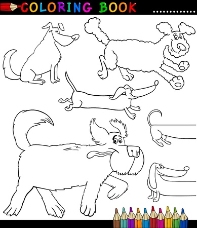 Coloring Book or Coloring Page Black and White Cartoon Illustration of Funny Purebred or Mongrel Dogs Stock Vector - 17120403