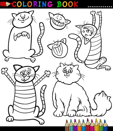 Coloring Book or Coloring Page Black and White Cartoon Illustration of Funny Cats or Kittens Vector