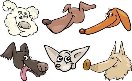 eskimo dog: Cartoon Illustration of Different Happy Dogs or Puppies Heads Collection Set