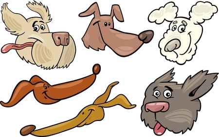 greyhound: Cartoon Illustration of Different Happy Dogs or Puppies Heads Collection Set