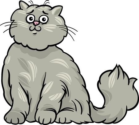 persian cat: Cartoon Illustration of Cute Gray Long Hair Persian Cat