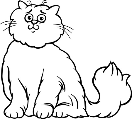 Black And White Cartoon Illustration Of Cute Long Hair Persian Cat For Coloring Book Vector