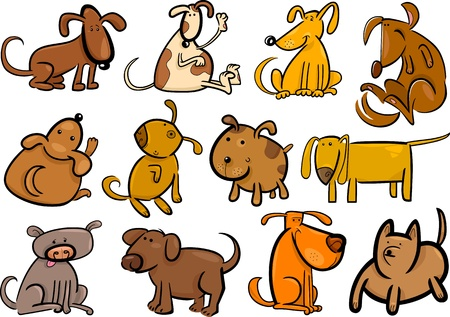 cute dog: Cartoon Illustration of Funny Different Dogs or Puppies Set