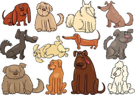 Cartoon Illustration of Funny Different Dogs or Puppies Set