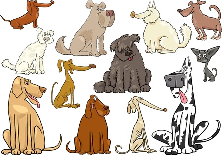 spotted dog: Cartoon Illustration of Funny Different Dogs or Puppies Set
