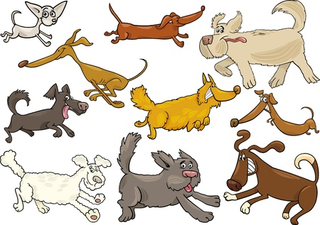 Cartoon Illustration of Different Playful Running Dogs or Puppies Set