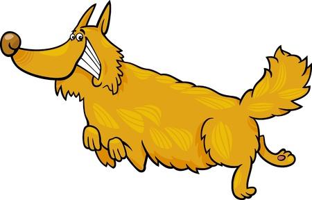 shaggy: Cartoon Illustration of Funny Running Shaggy Dog