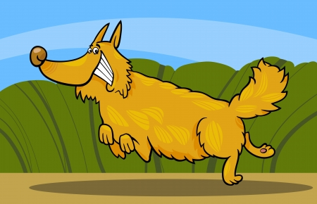 Cartoon Illustration of Funny Running Shaggy Dog against Rural Scene Vector