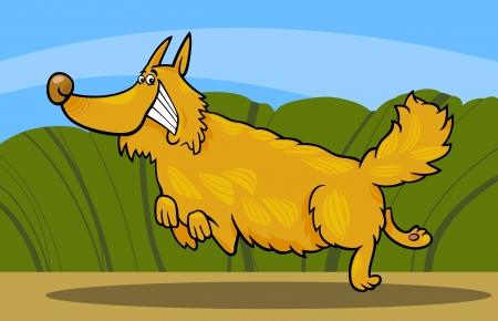 rural scene: Cartoon Illustration of Funny Running Shaggy Dog against Rural Scene Illustration