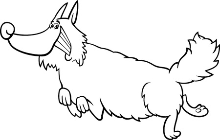 spitz: Black and White Cartoon Illustration of Funny Running Shaggy Dog for Coloring Book