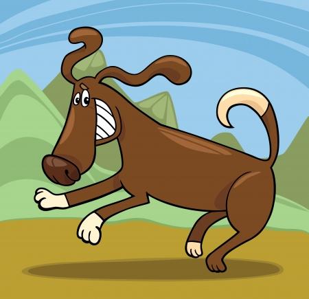 Cartoon Illustration of Funny Running Playful Dog against Rural Scene Stock Vector - 17147506