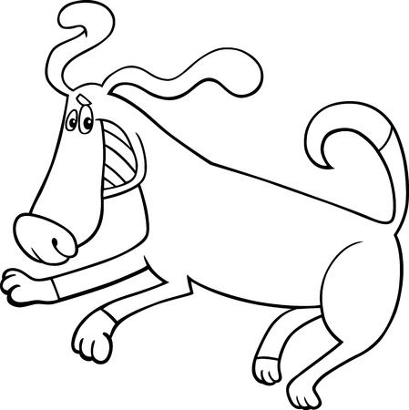 Black and White Cartoon Illustration of Funny Running Playful Dog for Coloring Book Stock Vector - 17147504