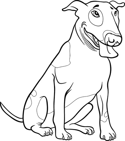 Black and White Cartoon Illustration of Funny Spotted Bull Terrier Dog for Coloring Book Vector