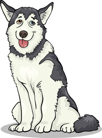 Cartoon Illustration of Funny Siberian Husky or Alaskan Malamute Dog Vector