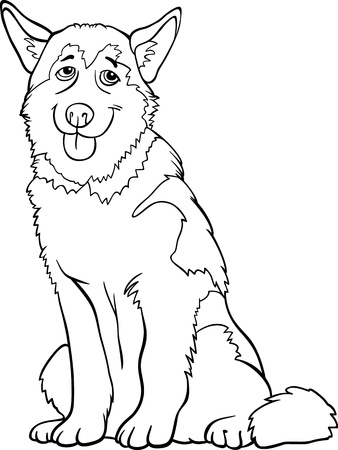 Black and White Cartoon Illustration of Funny Siberian Husky or Alaskan Malamute Dog for Coloring Book Vector