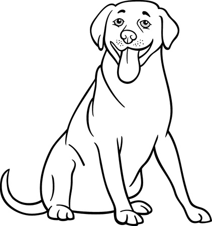 labrador retriever: Black and White Cartoon Illustration of Funny Labrador Retriever Dog for Coloring Book