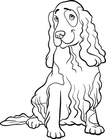 cocker: Black and White Cartoon Illustration von Funny Cocker Spaniel Hund Malbuch