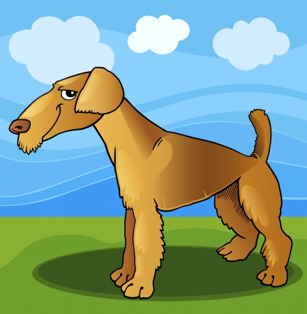 Cartoon Illustration of Funny Airedale Terrier Dog against Blue Sky Stock Vector - 17210054