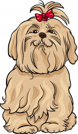 maltese dog: Cartoon Illustration of Cute Maltese Dog with Bow