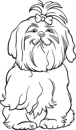 page long: Black and White Cartoon Illustration of Cute Maltese Dog with Bow for Coloring Book