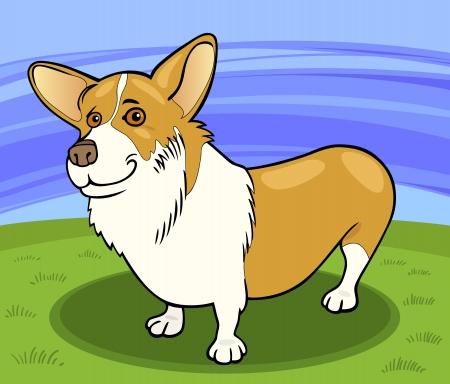 corgi: Cartoon Illustration of Funny Pembroke Welsh Corgi Dog against Blue Sky and Green Grass Illustration