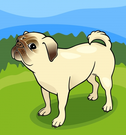 pug nose: Cartoon Illustration of Cute Pug Dog against Blue Sky and Green Grass