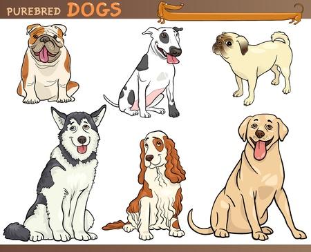犬の品種の純血種の犬セット漫画漫画イラスト  イラスト・ベクター素材
