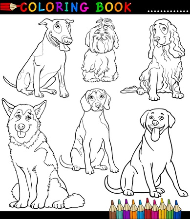 Coloring Book or Coloring Page Black and White Cartoon Illustration of Funny Purebred Dogs or Puppies Vector