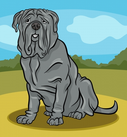 Cartoon Illustration of Cute Neapolitan Mastiff Purebred Dog against Rural Scene Stock Vector - 17222615