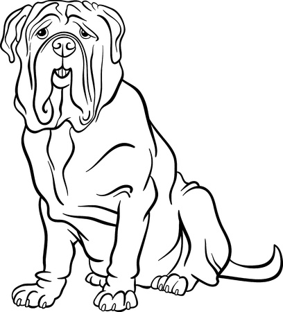 Black and White Cartoon Illustration of Cute Neapolitan Mastiff Purebred Dog for Coloring Book Stock Vector - 17222614