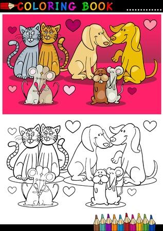 libro caricatura: Temas Día de San Valentín de animales o mascotas en Amor ilustraciones de dibujos animados coloridos y Blanco y Negro para Coloring Book Vectores