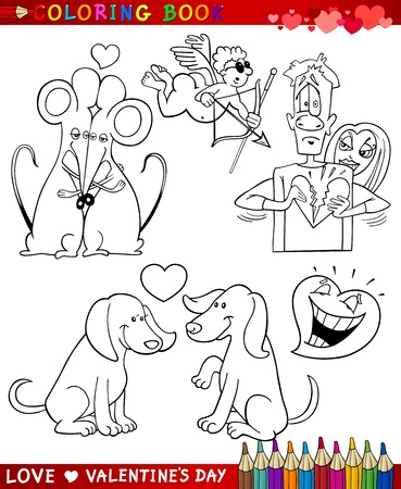 Valentines Day and Love Themes Collection Set of Black and White Cartoon Illustrations for Coloring Book Vector
