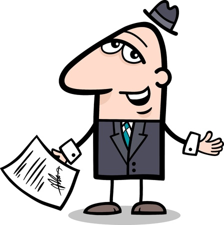 signed: Cartoon Illustration of Man or Businessman with Signed Agreement or Contract Illustration