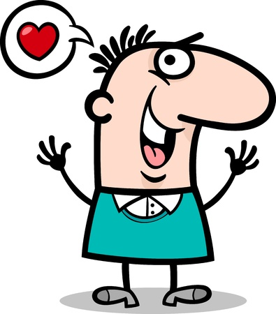 blissful: Cartoon St Valentines Illustration of Happy Funny Man in Love