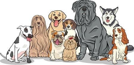 面白い純血犬または子犬グループの漫画イラスト  イラスト・ベクター素材