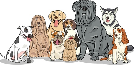 big dog: Cartoon Illustration of Funny Purebred Dogs or Puppies Group