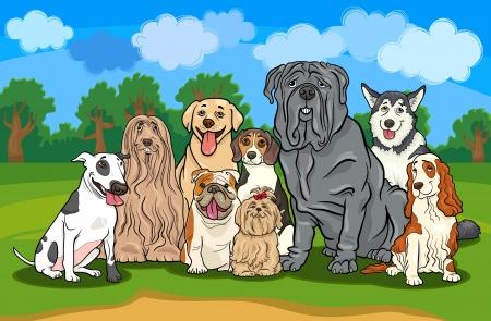 面白い純血犬または子犬青い空と農村景観に対するグループの漫画イラスト