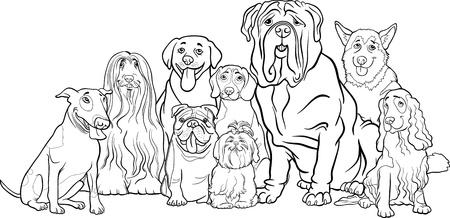 面白い純血種の犬の子犬のまたはグループ塗り絵の黒と白の漫画イラスト