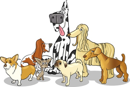 great dane harlequin: Cartoon Illustration of Cute Purebred Dogs or Puppies Group