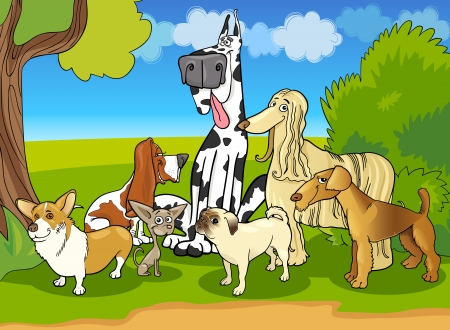 large group of animals: Cartoon Illustration of Cute Purebred Dogs or Puppies Group against Rural Scene with Blue Sky